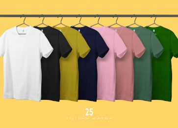 Row of T-Shirt mockup template with clothes line